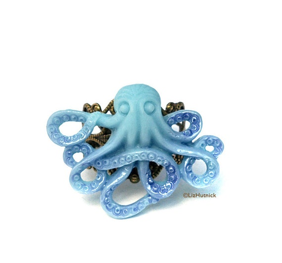 Blue Sea Octopus Ring