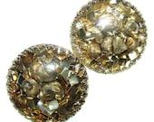 Vintage 50s Lucite Earrings . Gold Shell Earrings . Confetti Lucite . Resin Earrings . 50s Earrings . (Free Shipping USA) . Bree's Vintage
