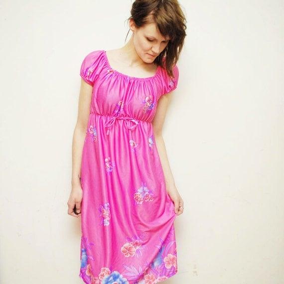 SALE...70s candy pink Grecian GODDESS dress. hippie boho dress - small, medium
