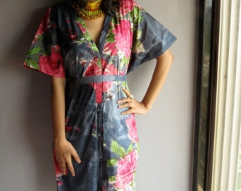 Gray Floral front button caftan perfect as getting ready, beach coverup, dressing gown, loungwear, gift for her