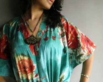 Teal Red floral kaftan - Perfect long dress, beachwear, spa robe, make great Christmas, Valentine Day, Anniversary or Birthday gifts