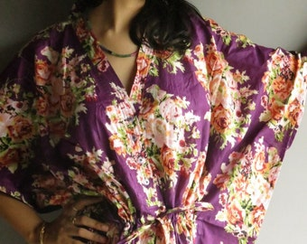 Purple Floral - Nursing Kaftan - Perfect as loungewear, as beachwear, gift for moms and to be moms and more