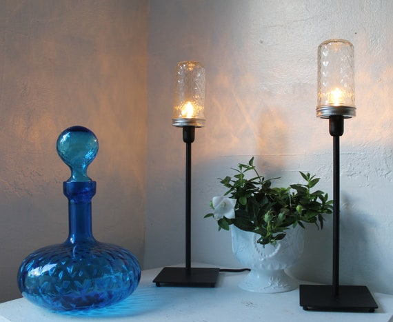 Mason Jar Table Lamps -  Set Of 2 Quilted Jelly Jar Desk Lamps - Upcycled Black Metal and Glass Lighting Fixtures - Modern BootsNGus Lights