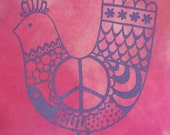 Organic Tee T-Shirt, Pink Peace Chicken, Ladies Size Small