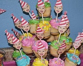 Photo Cupcake Toppers (Birthday Hat Design) Digital File - Color Coordinated with your Party Scheme