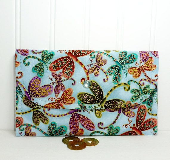 Lightweight wallet for cash, cards, coupons Blue purple red green dragonflies print