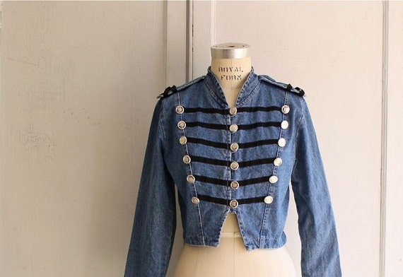 vintage military jean jacket cropped 80s marching band