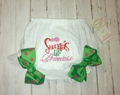 SANTAS lil PRINCESS Ready to Ship CHRISTMAS Diaper Cover Bloomers with Boutique Bows Design your own