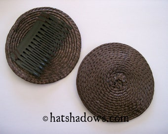 Brown Straw Fascinator Millinery Hat Base with Comb