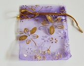 NEW 50pcs Purple and Gold Floral Print 3 x 4 Organza Bags - For Gifts, Favors, Weddings, Baby Showers, Jewelry, Soap, Fragrance Sachets