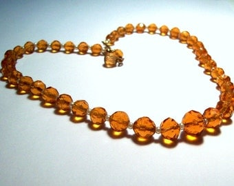 Sunshine - Amber Vintage Faceted Glass Beads and Pearls Necklace - Choker