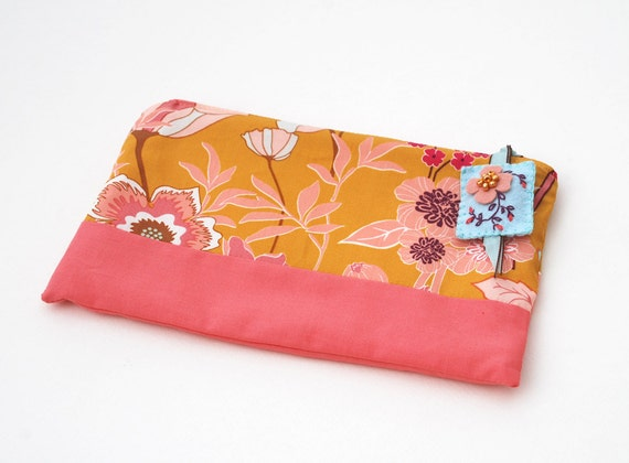 Zipper Pouch, Pencil Case, or Cosmetic Bag - Beyond Bliss in Ginger with Handmade Light Blue Felt Floral Zipper Pull