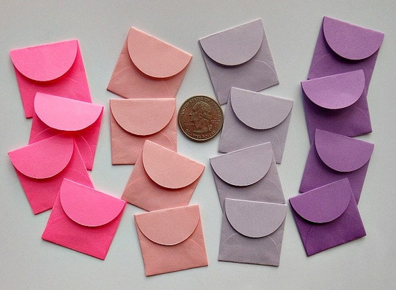 Choose your COLOR(s)- Sixteen Tiny Handmade ENVELOPES in many colors- Set D- Pinks and Purples- For Weddings, love notes, tiny banners
