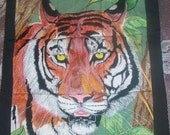 Embroidered Tiger wall hanging
