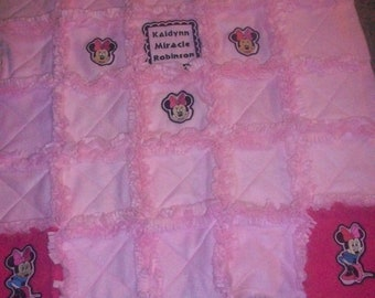 Embroidered appliqued Minnie mouse rag blanket