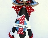 Little Cowboy Party Hat in Black White Red and Blue polka dot cow print pony party