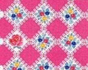 CLEARANCE, Japanese, Lecien, Hua Hua Lu Lu, Scallop Floral Squares in Pink, 1/2 Yard