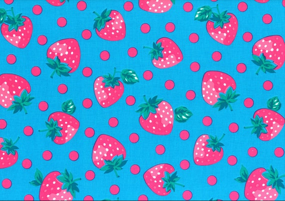 Japanese, Lecien BERRY DOLL, Stawberries and Polka Dots on Blue, 1/2 Yard
