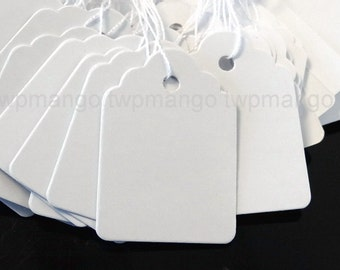 "100 Jewelry Label Price Tags Pre-Strung White 1 3/8"" x 1"" PT6"