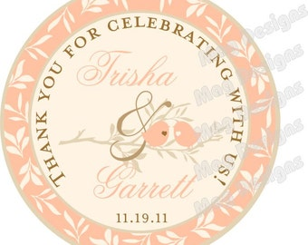 Custom Wedding Stickers - Love Bird 2 inch Round OOT Welcome Stickers for Wedding Hotel Guests