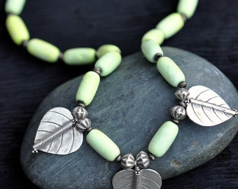 Lemongrass - Magnesite and Sterling Silver Beaded Necklace