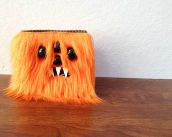 Orange Monster Wallet- Four Black Eyes