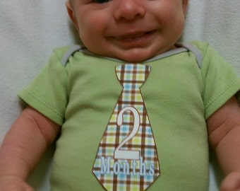 SALE Baby Monthly Stickers Boy Blue Brown Green Argyle Dots Tie Month Stickers Shower Gift Photo Prop