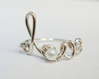 Love Ring  Pearl Ring   Sterling Silver Ring   Wire Word Rings  Wire Words