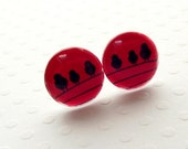 Bird post earrings, black red birds on sterling silver posts
