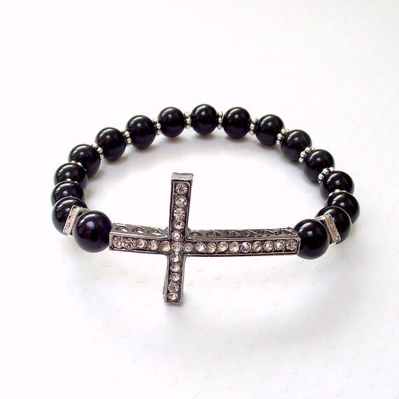 Black sideways cross bracelet rhinestone cross bracelet