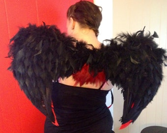 Handmade Black and Red Feather Angel Wings