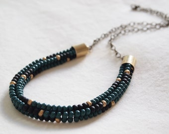 Native American 'Aztec' Print Woven Beadwork Collar Choker Necklace - Hunter Green/Black/Gold