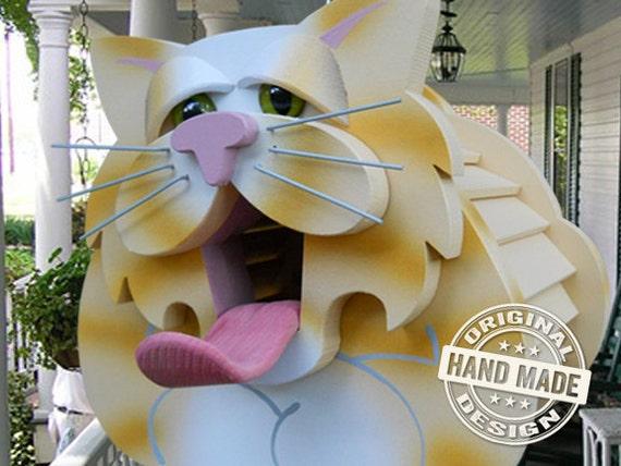 Birdhouse - Yellow Tabby Cat Handmade Fully-Assembled Wood