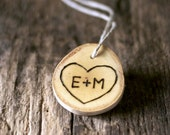 Personalized Heart Ornament -  Christmas Ornament - Tree Carved initials - Wood Slice - Rustic - Wedding Favor