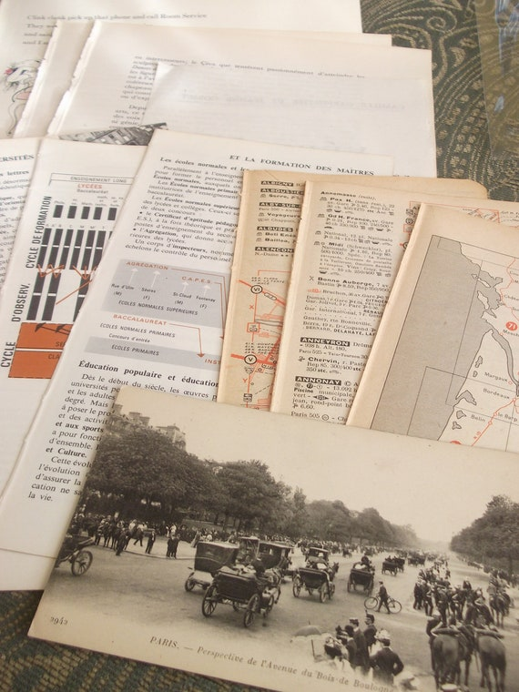 Grab Bag of French Text - Perfect for Collage or Altered Art Projects.