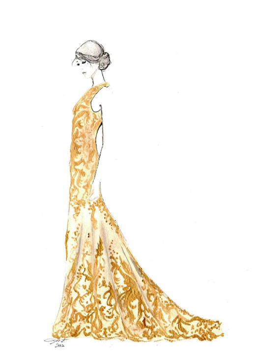 Print from original watercolor and pen fashion illustration by jessica