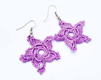 Crochet Pattern, Crochet Earring Pattern, Cotton Crochet . Earrings Tutorial , Instand Download,Dangle Earrings, PDF File