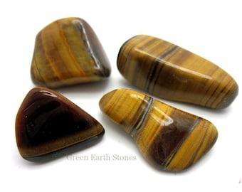 Large Tigers Eye Gold Tumbled Stone ONE, Premium, Gemstone,