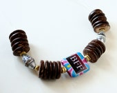 Bestfriends Wood Bracelet, Decoupage beads,  Paper Bead Jewelry