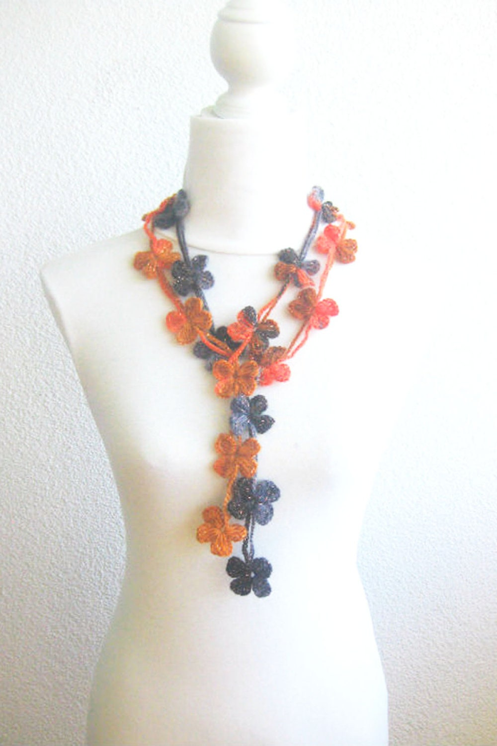 Crochet Lariat Scarf Flower Lariat Scarf Long Necklace by ...