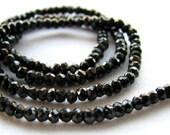 Sparkling Black Spinel faceted rondelles, 13.5 inch strand, 2.5mm (11m24)