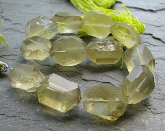 "Lemon Quartz Hammer Cut Frosted Oval Nuggets, 8"" strand (7a15)"