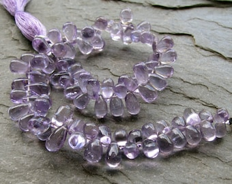 Pink Amethyst Smooth Teardrop Briolettes, 9 inch FULL strand, 5.5 - 10.5mm (8w49)