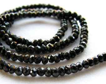 Sparkling Black Spinel faceted rondelles, 13.5 inch strand, 2.5mm (11m24)