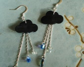 Rainy day earrings - recycled inner tube earrings