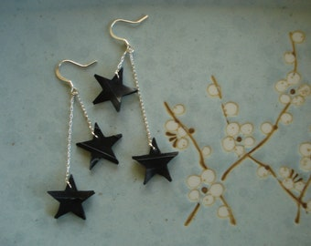 Starry night earrings - recycled inner tube earrings