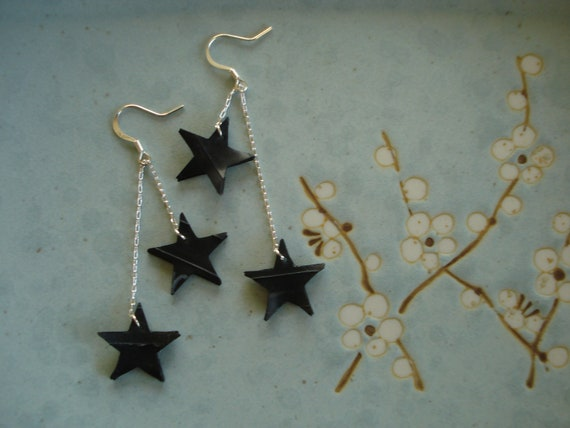 Starry night earrings - recycled inner tube earrings