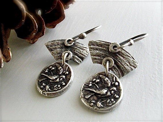 fleeting sparrow earrings : rustic nature jewelry . handcrafted silver