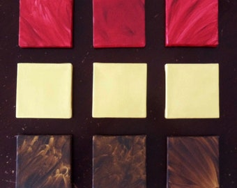 Modern Abstract Art - Modern Art- Large Modern Painting- Modern Wall- Mini Canvas Squares 5x5 - Red Gold Brown