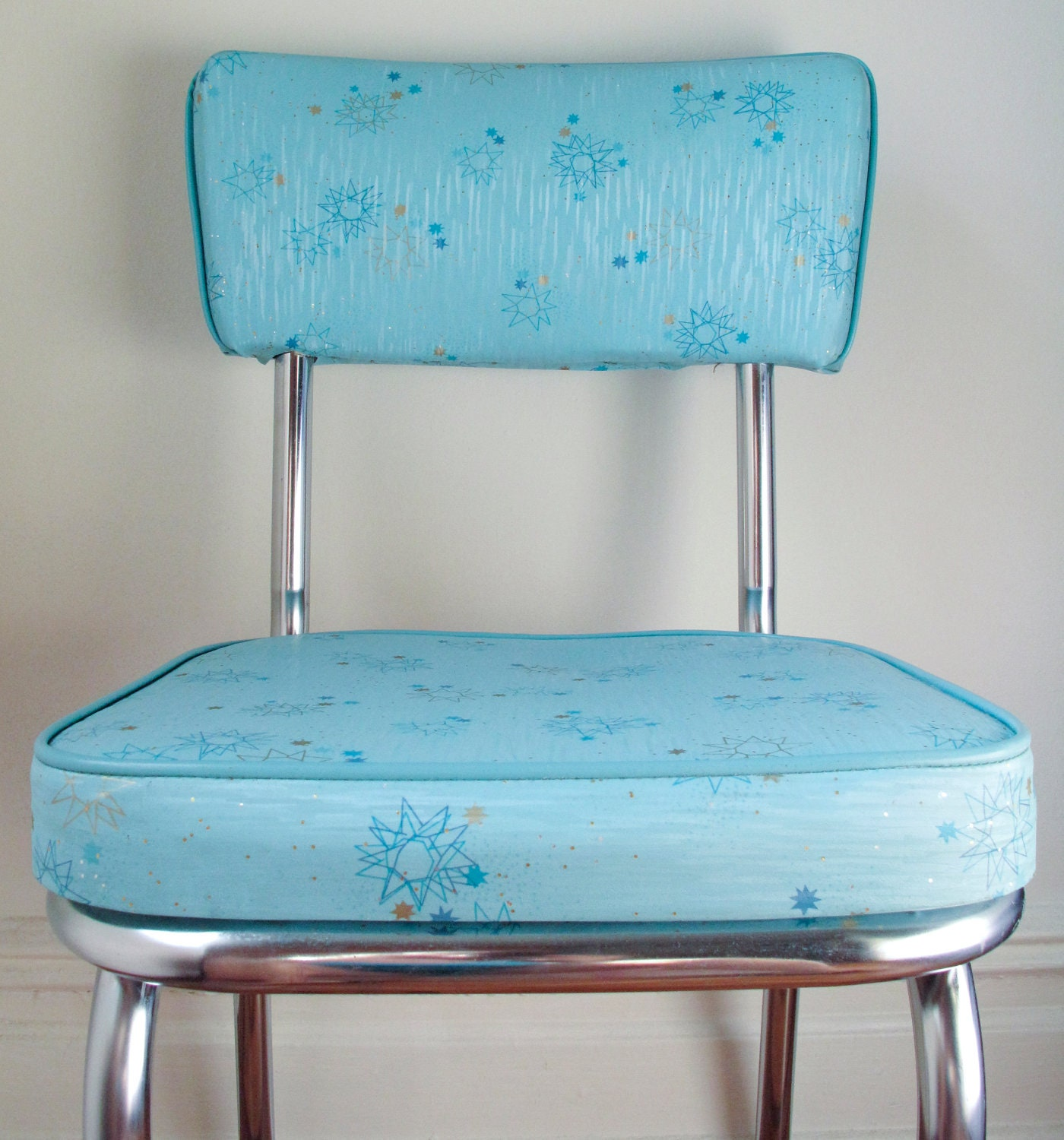 Kitchen Chairs For Sale: Vintage Circa 1950s Kitchen Chairs Aqua Atomic Pattern SALE